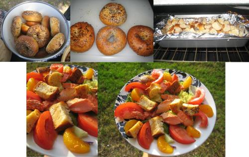 Breakfast bagels finagled into a summer salmon citrus salad with bagel croutons! Viola!