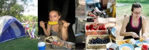Roasted corn and fresh fruit were among the menu items on our gourmet camping trip!