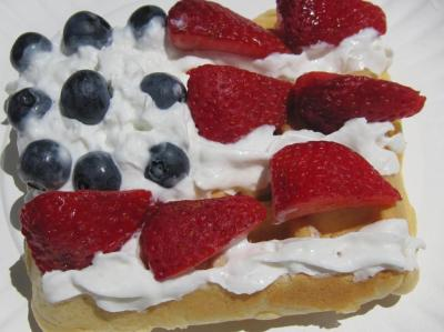 Flag Waffles are a fun, festive, easy, and healthy way to entertain a 4th of July brunch bunch!