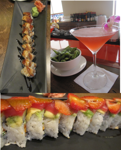 Clockwise from Left to Right: Dancing Eel Roll, Sexytini, Marry Me Roll. Mmm.